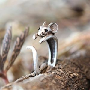Antiqued Silver plated rat mouse ring adjustable